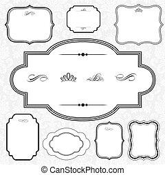 décoratif, cadre, vecteur, ensemble