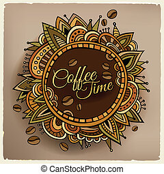 décoratif, café, étiquette, conception, temps, frontière
