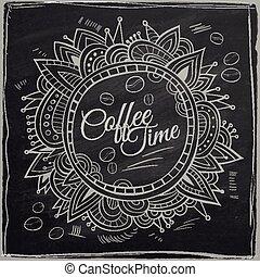 décoratif, café, border., fond, temps, chalkboard.