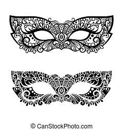 décoratif, carnaval, isolé, illustration, vecteur, masques, blanc