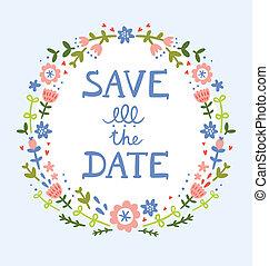 décoratif, couronne, date, floral, sauver, composition