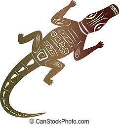 décoratif, crocodile, fond blanc