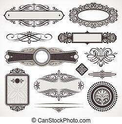 décoratif, décor, éléments, &, vecteur, conception, page