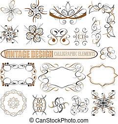 décoratif, décor, elements:, vecteur, conception, page