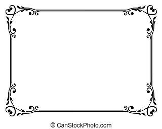 décoratif, décoratif, cadre, calligraphie, coeur