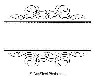 décoratif, décoratif, cadre, vignette, calligraphie, calligraphie