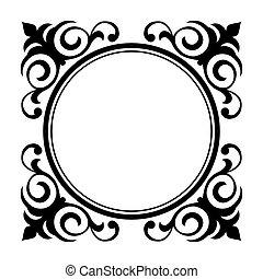 décoratif, décoratif, cercle, cadre
