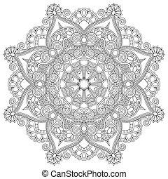 décoratif, dentelle, ornement, modèle, cercle, noir, collection, géométrique, napperon, blanc, rond