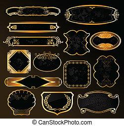 décoratif, doré, étiquettes, noir, vecteur