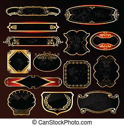 décoratif, doré, étiquettes, vecteur, noir, cadres