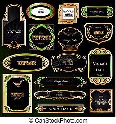 décoratif, doré, ensemble, labels., vecteur, noir, cadres