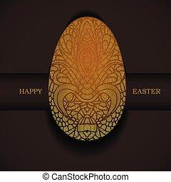 décoratif, doré, greeting., paques, egg., vacances, bannière, heureux