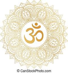 décoratif, doré, om, ohm, symbole, ornament., aum, mandala, rond