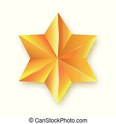 décoratif, doré, star., tridimensionnel, icône, arrière-plan., pointu, six, facetté, isolé, réaliste, vecteur, conception, illustration., hexagone, élément, blanc, 3d