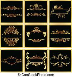 décoratif, doré, vecteur, orné, cadres, quad