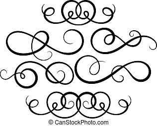 décoratif, elements., calligraphic