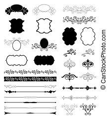 décoratif, ensemble, elements., vecteur, conception, floral