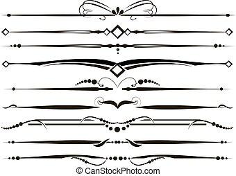 décoratif, ensemble, vectorized, diviseurs, lignes, règle