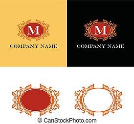 décoratif, eps, logo, ovale, design., vecteur, gabarit, frontière, illustration, 10.