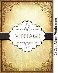 décoratif, eps10, frame., illustration, vendange, vecteur, fond