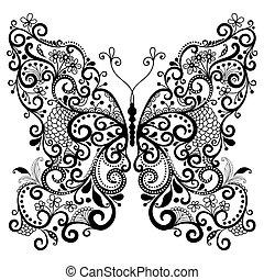 décoratif, fantasme, papillon