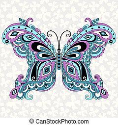 décoratif, fantasme, papillon, vendange