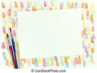décoratif, feuille, gouttes, coloré, papier, divers, fond, pinceaux, vide
