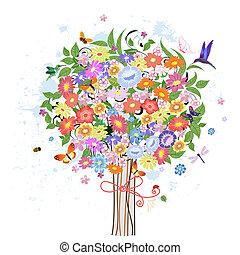 décoratif, fleur, arbre, oiseaux