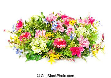 décoratif, fleur blanche, coloré, arrangement