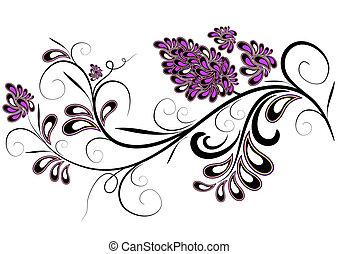 décoratif, fleur, branche, lilas