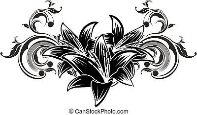 décoratif, fleurs, conception