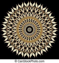 décoratif, floral, cercles, ornament., fleurs, clã©, conception, texture., résumé, grec, arrière-plan., pattern., formes, vecteur, leaves., meanders., style, rond, orné, vendange, tournesol, moderne, mandala
