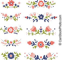 décoratif, floral, compositions, collection
