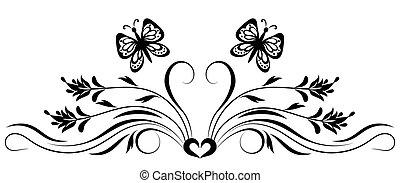 décoratif, floral, ornement