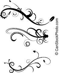 décoratif, flourishes, 2, ensemble