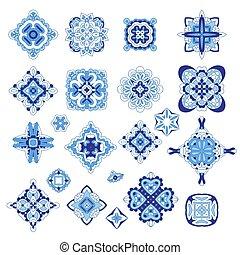 décoratif, gabarit, damassé, set., symboles, vecteur, médaillon, géométrique, arabe