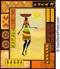 décoratif, habillé, girl, africaine