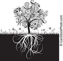 décoratif, herbe, racines, vecteur, arbre
