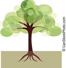 décoratif, image, arbre