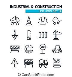 décoratif, industriel, icônes, collection, construction, outils