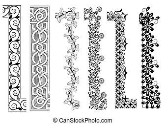 décoratif, intérieur, seamless, motifs, coin, frontière, extérieur