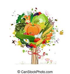 décoratif, légume, arbre
