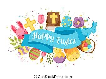 décoratif, lapins, oeufs, salutation, objets, paques, carte, heureux