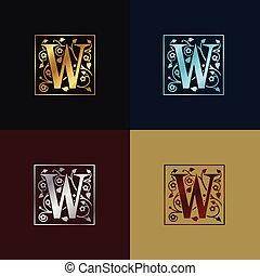 décoratif, logo, lettre, w