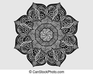 décoratif, mandala, ornement, formulaire, radial