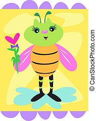 décoratif, mignon, fleur, abeille
