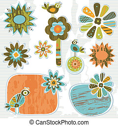 décoratif, mignon, fleurs, retro, cadres