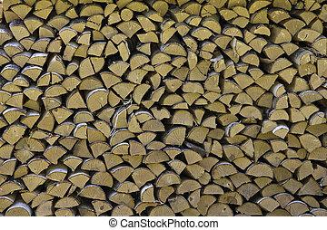 décoratif, mur, woodpile., bois brûler, empilé