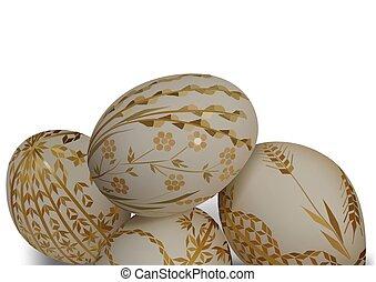 décoratif, oeufs, paques, blanc, modèle