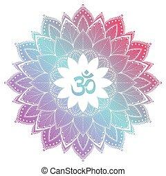 décoratif, ohm, symbole om, ornament., aum, mandala, rond